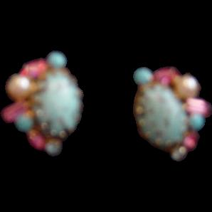 Vintage Gold Flake / Stones / Beads Earrings