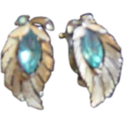 Lisner Gold Leaf with Aqua Blue Navettte Stone earrings