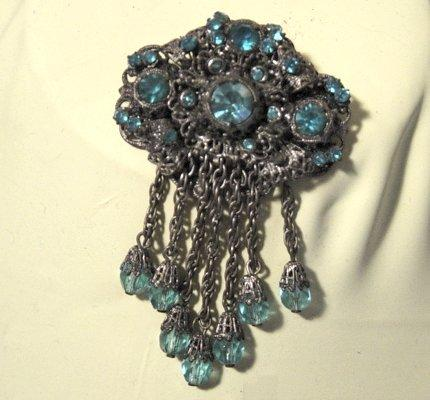 Victorian Revival Brooch In Antique Gilded Silver