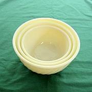 Fire King Ivory Swirl Nesting Bowls