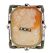 Vintage 14kt Diamond Carved Cameo Pin/Pendant