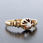 Victorian 14kt Yellow Gold Diamond Engage Ring .20ct