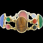 Retro 12kt Gold-Filled Multi Stone Scarab Bracelet