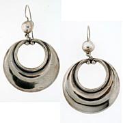 Vintage Mexican Los Castillo Sterling Silver Hoop Earrings