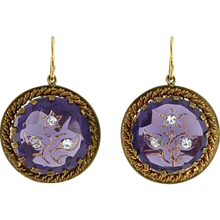 Victorian Revival Gold Filled Faux Amethyst & French Paste Earrings