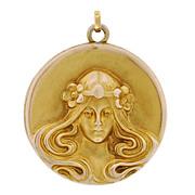 Art Nouveau 14kt Repousse Locket with Woman
