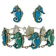 Vintage Toshikane Silver & Porcelain Seahorse Bracelet/Earring Set