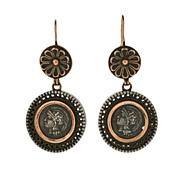 Victorian Sterling & 12kt Roman Coin Earrings