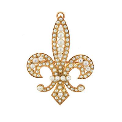 Victorian 14kt natural pearl fleur de lys pin pendant a brandt and son estate and antique - Fleur de lys signification ...