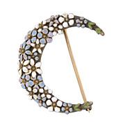 Victorian 12kt Enamel Flower Crescent Pin