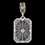 Art Deco 14kt Rock Quartz Crystal & Diamond Pendant