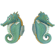 TOSHIKANE Vintage Silver & Porcelain Seahorse Earrings