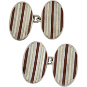 GUCCI Vintage Sterling & Enamel Striped Cufflinks
