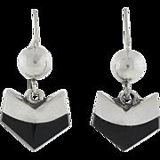 LEDESMA Vintage Mexican Sterling & Onyx Earrings