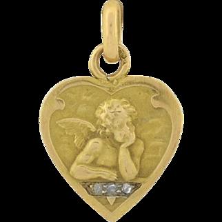 Victorian 14kt Gold & Diamond Cherub Heart Charm