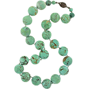 Vintage Large Turquoise Bead Necklace with Sterling Clasp