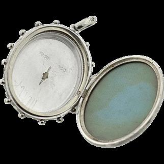 Victorian Sterling Silver Enameled Pearl Starburst Motif Locket