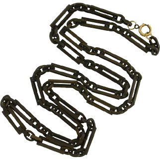 """Victorian Gutta-Percha Carved Chain Link Necklace 35"""""""