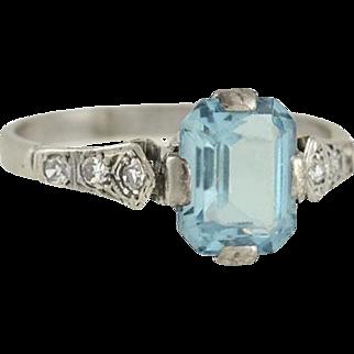 Art Deco 18kt Aquamarine & Diamond Ring