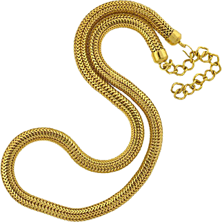 """Vintage Large Gold-Plated Snake Chain Necklace 36"""""""