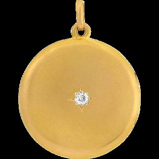 Victorian 14kt Mine Cut Diamond Smooth Locket .25ct