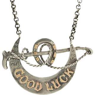 """Victorian Sterling/Rose Gold """"Good Luck"""" Equestrian Necklace"""