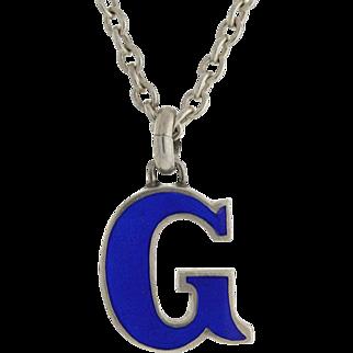 """GUCCI Vintage Sterling & Blue Enamel """"G"""" Necklace"""