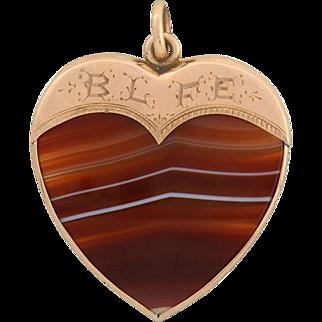 Victorian 12kt Rose Gold Carved Banded Agate Heart Pendant