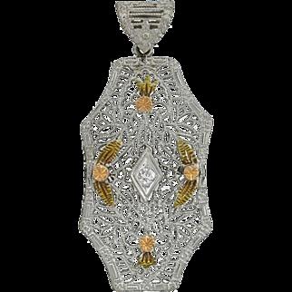 Art Deco 14kt Mixed Metals Diamond Filigree Pendant