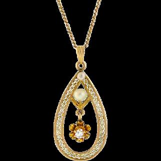 Late Victorian 10kt Pearl & Diamond Filigree Pendant Necklace