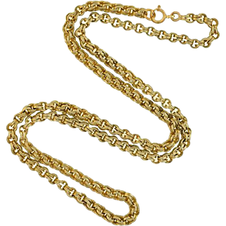 """Victorian Gold-Filled Double Split Ring Chain Necklace 22"""""""