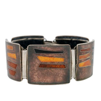Vintage German Perli Silver Copper Amp Enamel Bracelet From