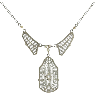 Art Deco 14kt Seed Pearl Diamond Filigree Necklace