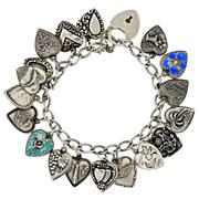 Late Victorian Sterling & Enamel Repousse Heart Bracelet