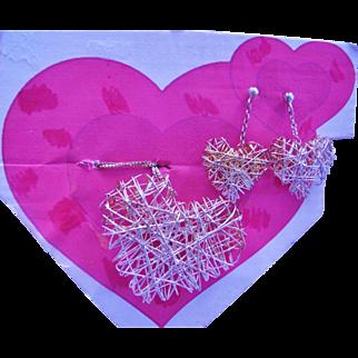 Sterling Silver Heart Necklace Earring Set
