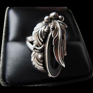 Vintage NAKAI Sterling Silver Black Onyx Ring