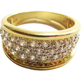 Wide 14k Gold Diamond Band Ring