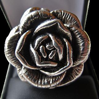 Stunning Sterling Silver Large Rose Ring