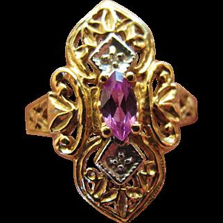 Marquise Amethyst Filigree Ring