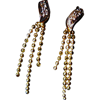 14k Gold Diamond Tassel Earrings