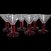 Set 6 Ruby Stemmed Martini Glasses