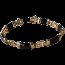 Oriental  Black Glass and Gold Wash Sterling Bracelet