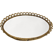 Delicate Gilt Edged Mirror Vanity Tray