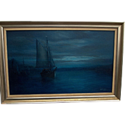Moonlit Harbor Oil Painting by Graham Hedges