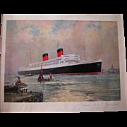 Vintage Mauretania Ship Print, Frank Mason