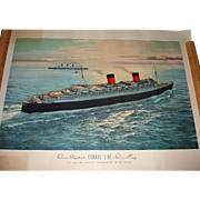 Vintage Print RMS Queen Elizabeth and RMS Queen Mary, C.G. Evers
