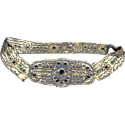 Victorian Blue Glass Stone Beaded Belt