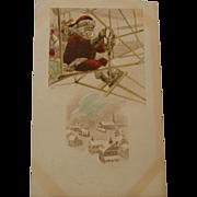 Early Santa Postcard in Airplane, 1912