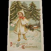 Vintage Sparkle Christmas Postcard,