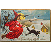 Halloween Postcard, Witch in Snow